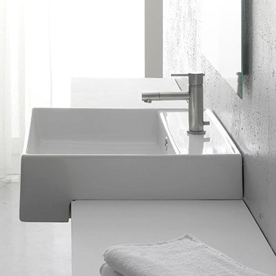 Nameeks Scarabeo White Wall Mount Rectangular Bathroom Sink With Overflow Lowes With Images Square Bathroom Sink