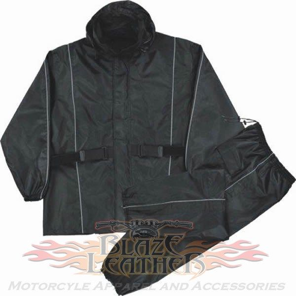 Nexgen 2pc Womens Black Reflective Waterproof Motorcycle Rain Suit made by  Milwaukee Leather comes in solid black and is made of waterproof 100%  oxford ... 1afda18b97
