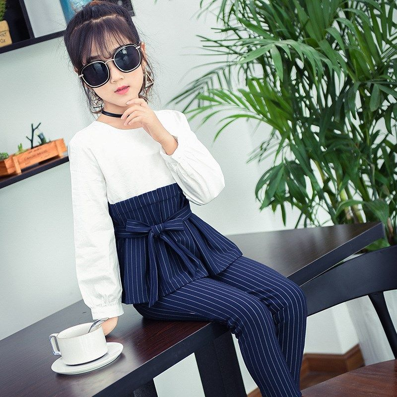 2018 Back To School Outfits Kids Girls Clothes Set 2pcs Teenage Girls Clothing Suits Autumn Striped T-shirts + Pants Trousers 12 #teenagegirlclothes
