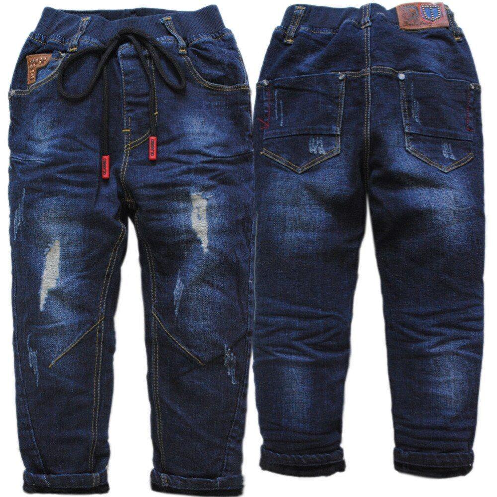 4068 hole jeans boy winter warm denim and fleece boys