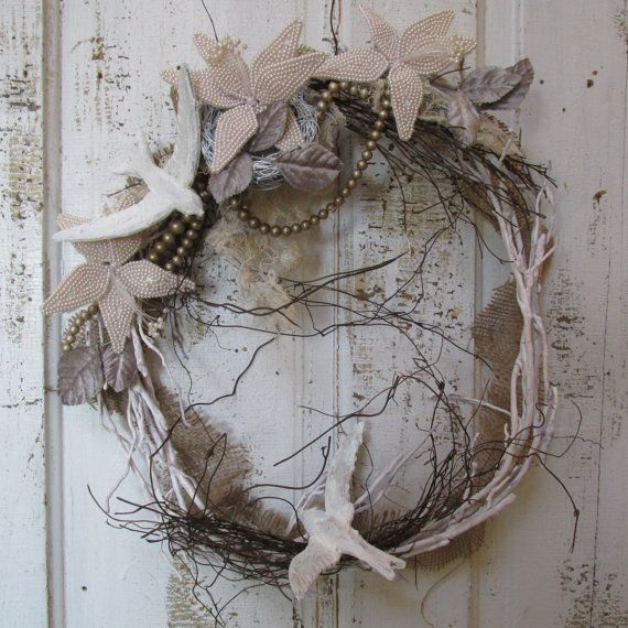 French Nordic white twig branch wreath wall by AnitaSperoDesign