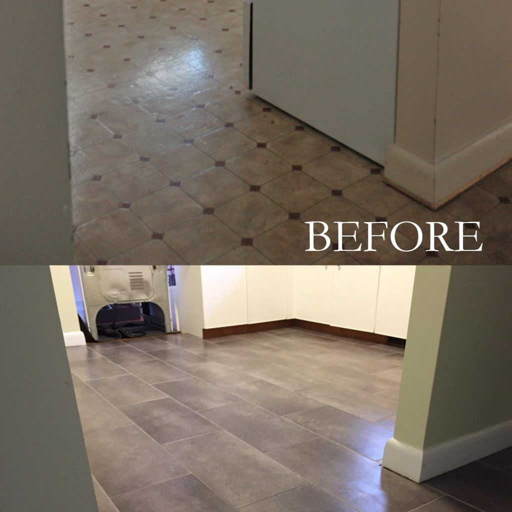 Peel And Stick Floor Tiles Over Linoleum Laundry Room In