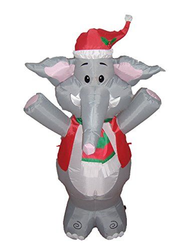 BZB Goods Lighted Christmas Blow Up Cute Elephant Yard Decoration 4 - christmas blow up decorations