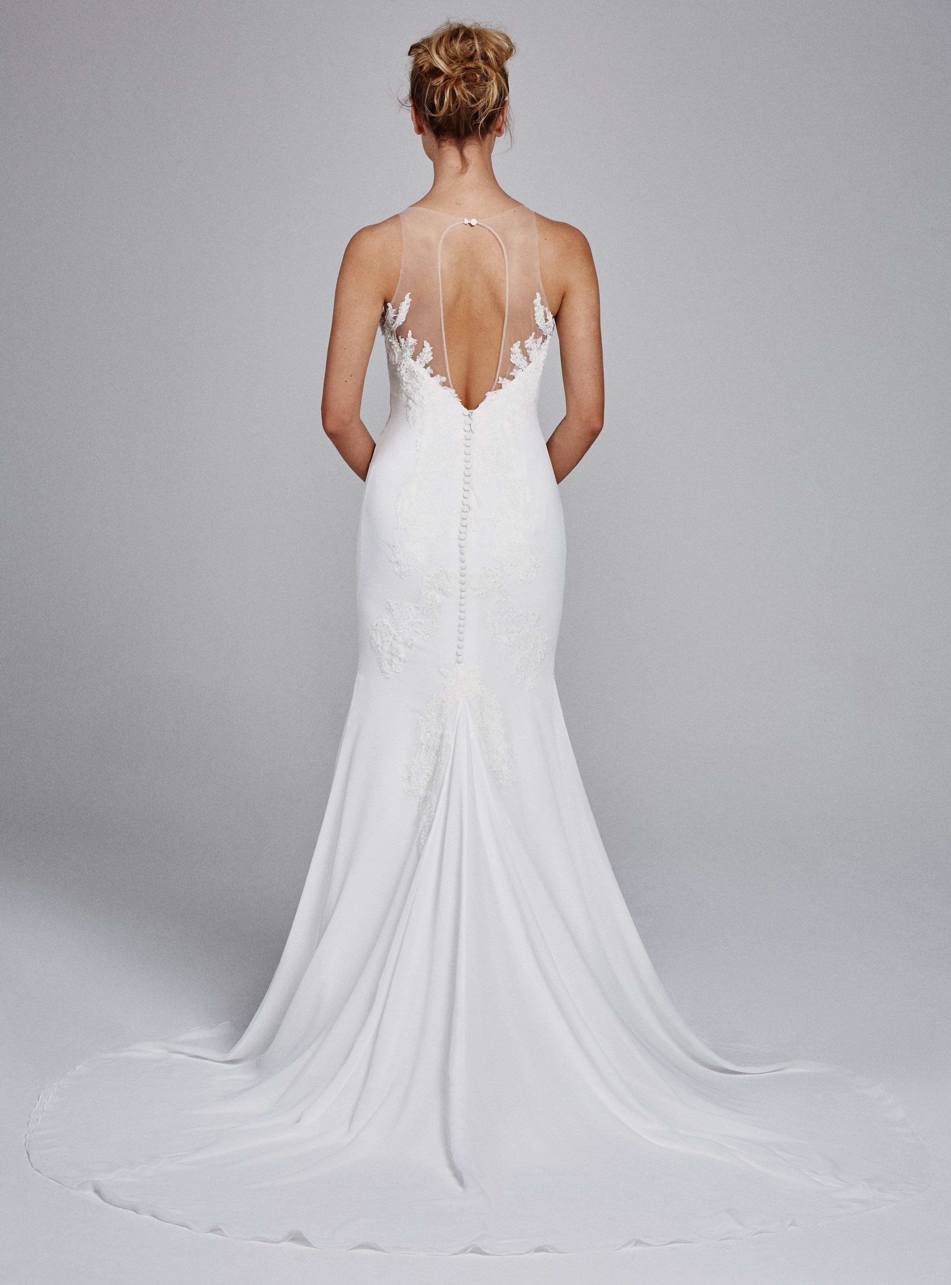 Back detail wedding dress  Heatheru Fall  KellyFaetanini fittoflare gown with Alencon
