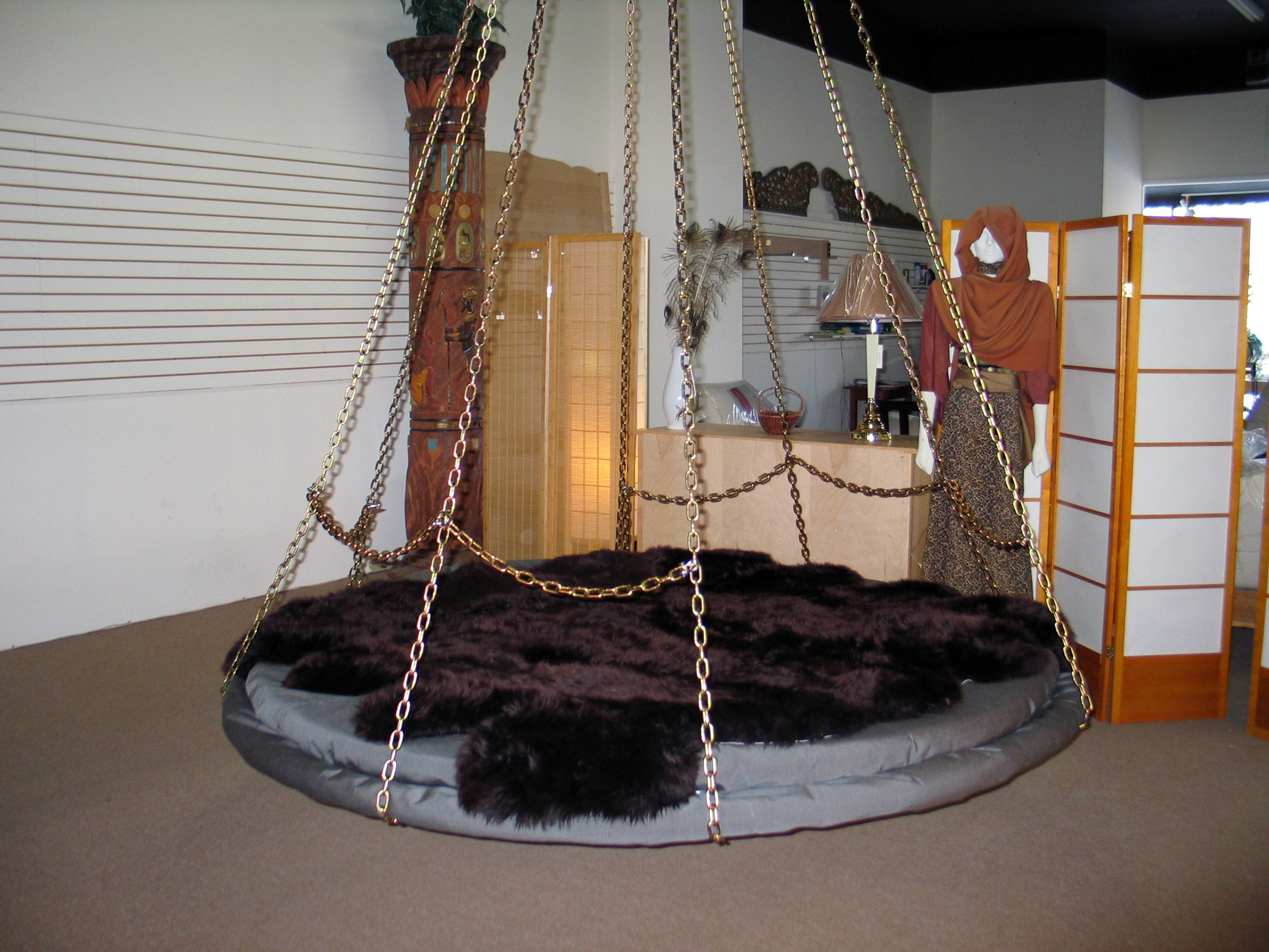 Hanging bed chains - Floating Bed With Chain Link Back Rest Can Support Pillows For Sofa Use
