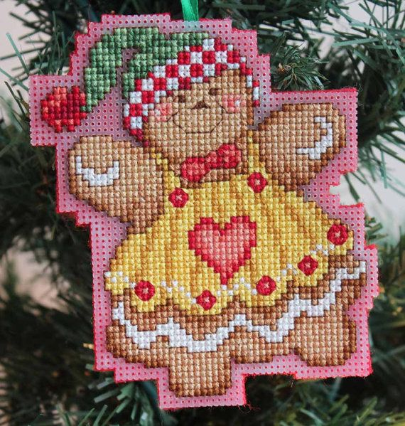 Cross Ornament For Girl Or Boy: Cross Stitch Christmas Ornament Gingerbread Girl By