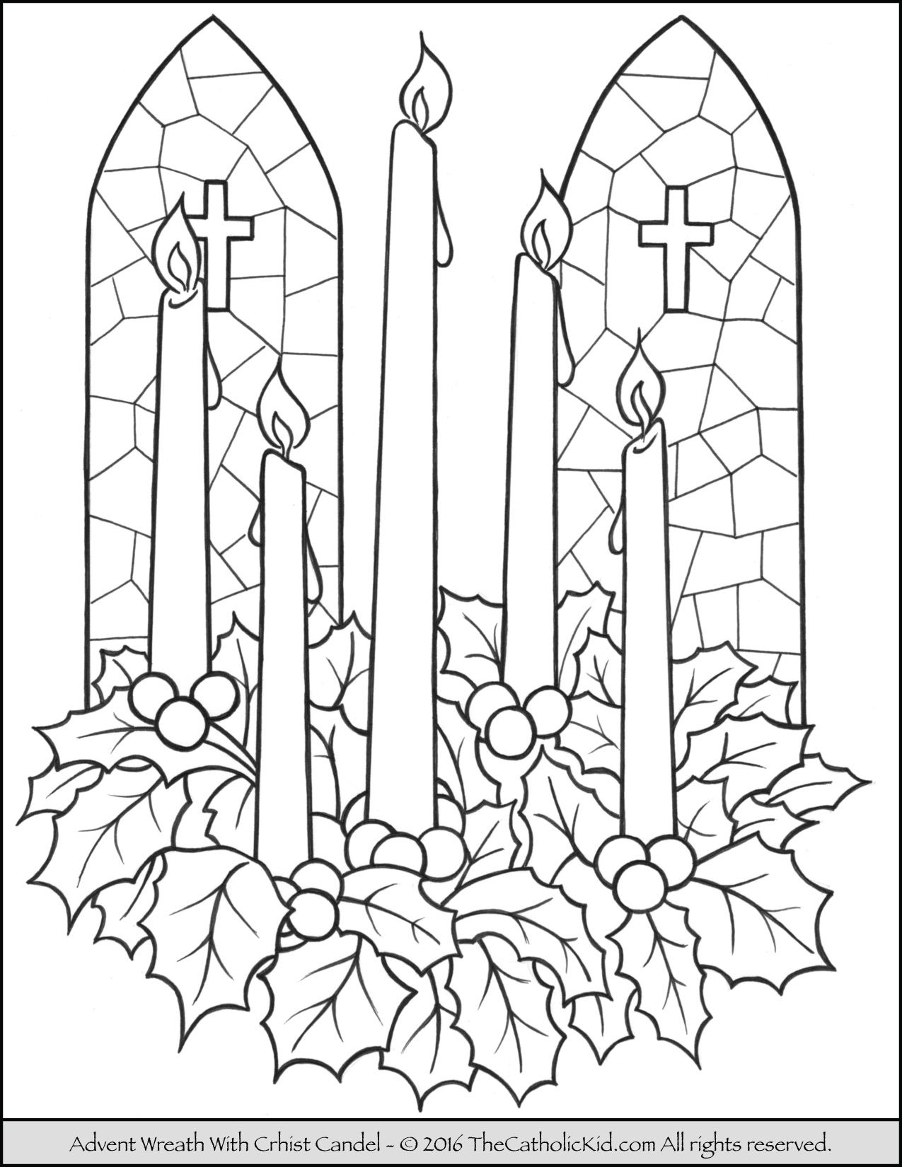 Advent Wreath Christ Candle Coloring