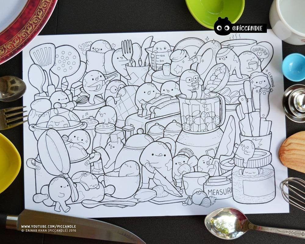 inktober Day 7 - Kitchen Tools #inktober2016 #doodle #coloringpage ...