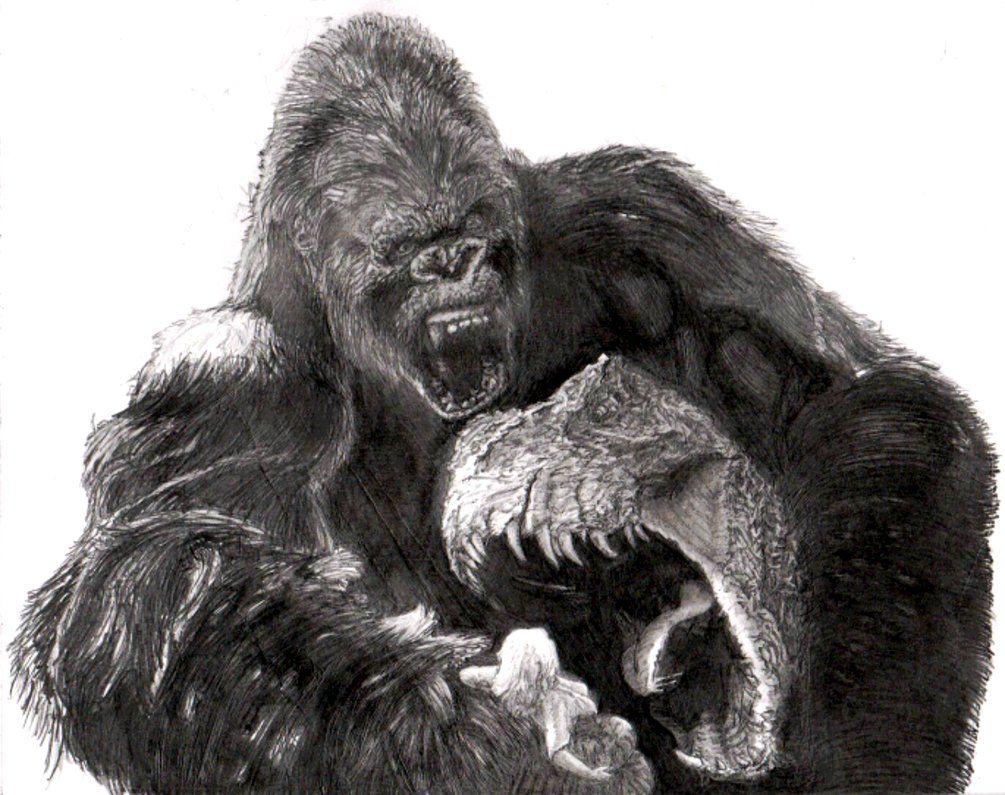 раскраска горилла с динозавром фото