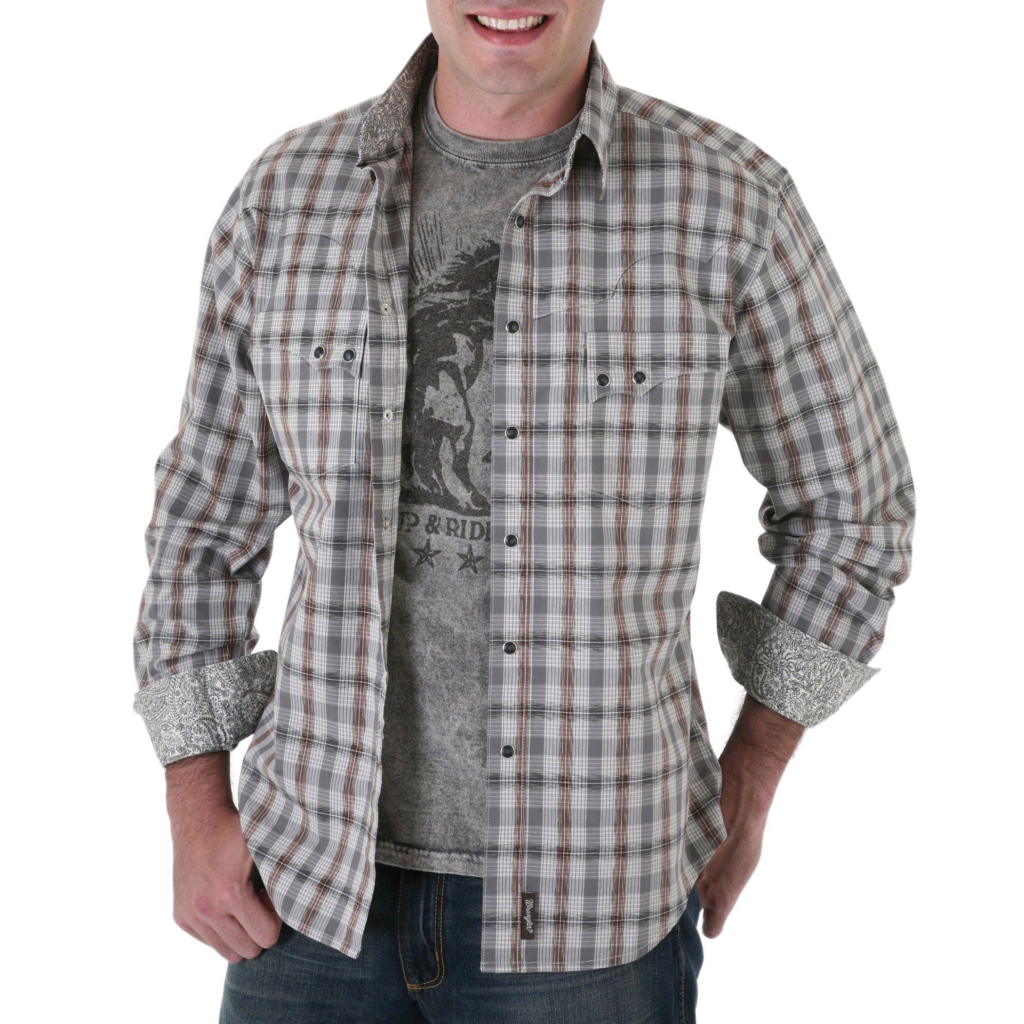 Wrangler Retro Western Grey Plaid Shirt