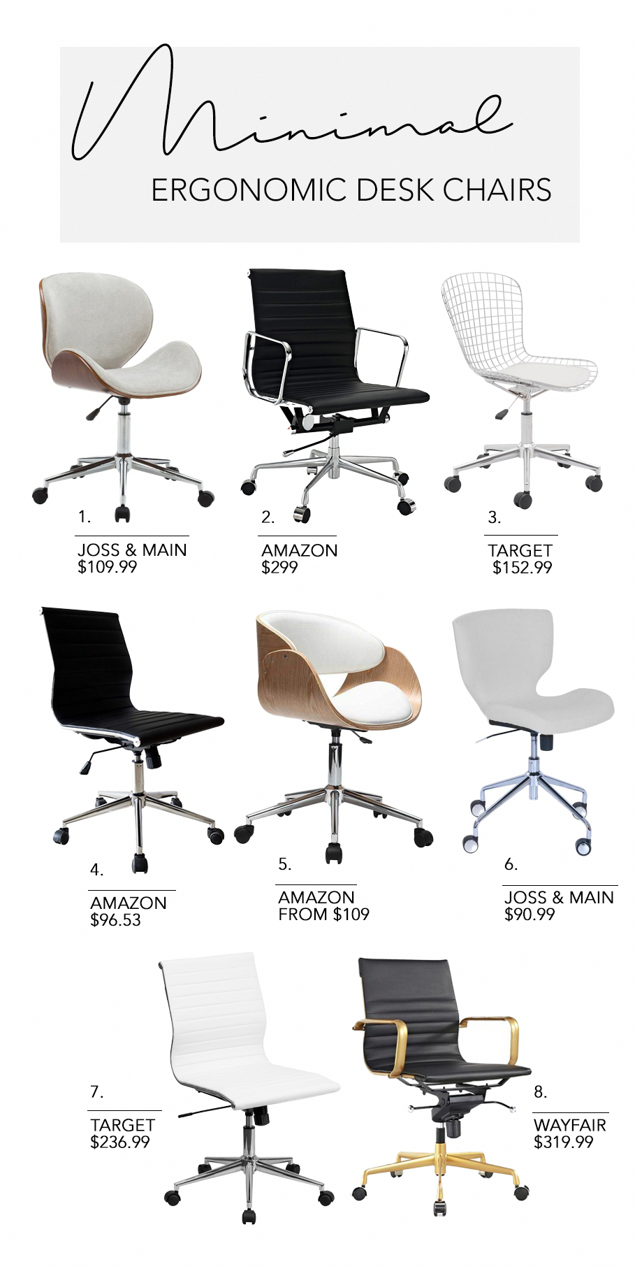 8 Minimal Ergonomic Desk Chairs 5 Minimalist Home Office Workspace Productivity Boosting Tips Hey D Minimalist Desk Office Desk Chair Ergonomic Desk Chair
