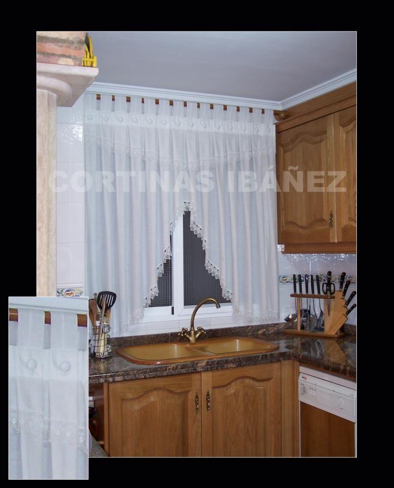 Cortina de cocina en visillo de polilino confeccionado a tablas ...