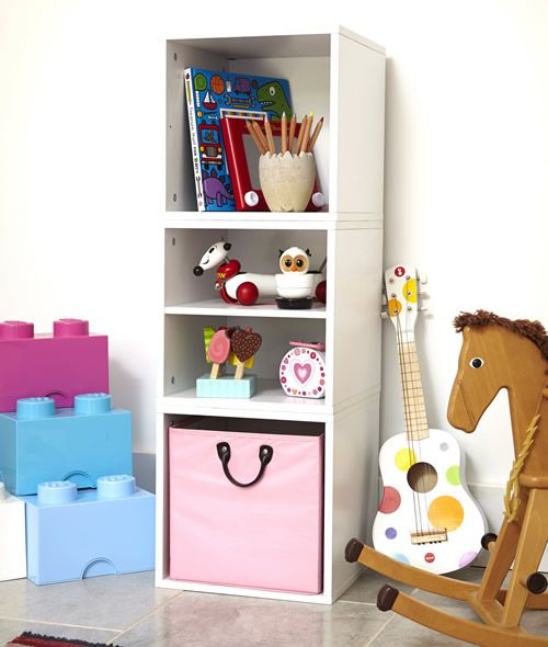 Handbridge Storage Cube   Set E At STORE. Set Of 3 White Wood Modular Cubes  With A Large Pink Storage Basket.