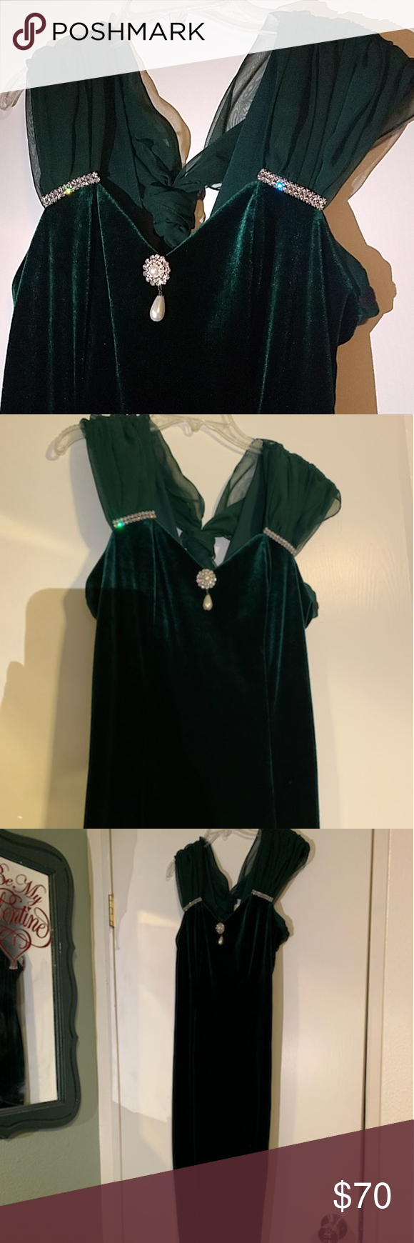 Crushed velvet green dress Used once, these pictures dont do justice to this dress it us beautiful inperson and the stones shine so much! No holes or rips. poly fashion Dresses