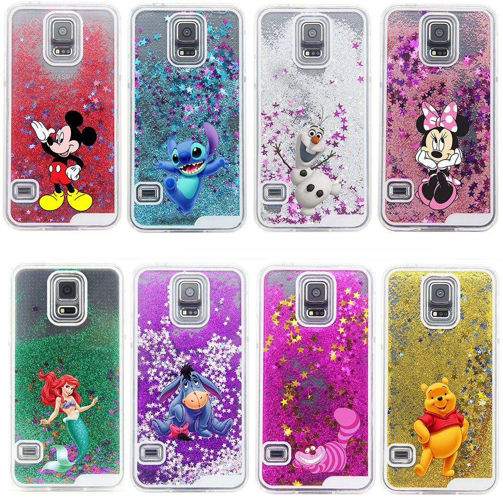 3e94d77832e ... personajes de dibujos animados de cinco puntas estrella del brillo  líquido transparente contraportada del estuche rígido para Samsung Galaxy  S4 i9500 de ...