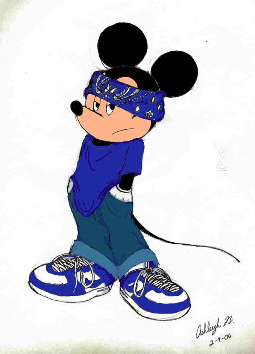This picture is of Mickey Mouse dressed as a crip. A crip is a