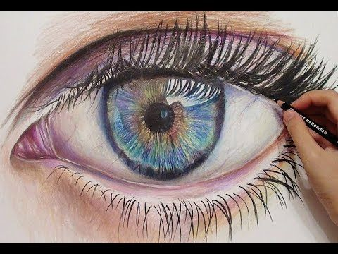 Drawing A Realistic Eye With Colored Pencils Time Lapse Hd Eye Drawing Realistic Eye Drawing Pencil Drawing Tutorials