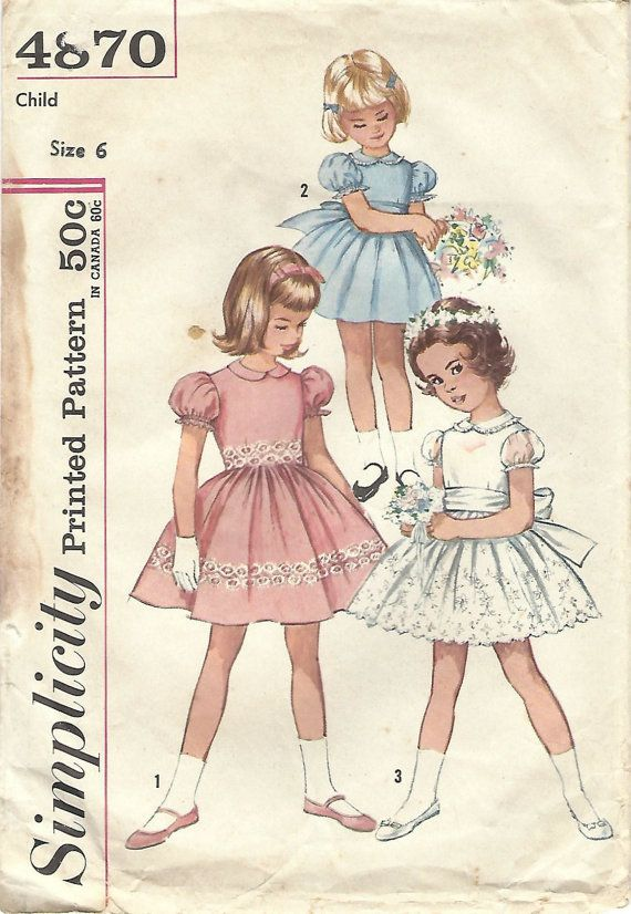 1960s Simplicity 4870 Vintage Sewing Pattern Girls Party Dress, Full ...