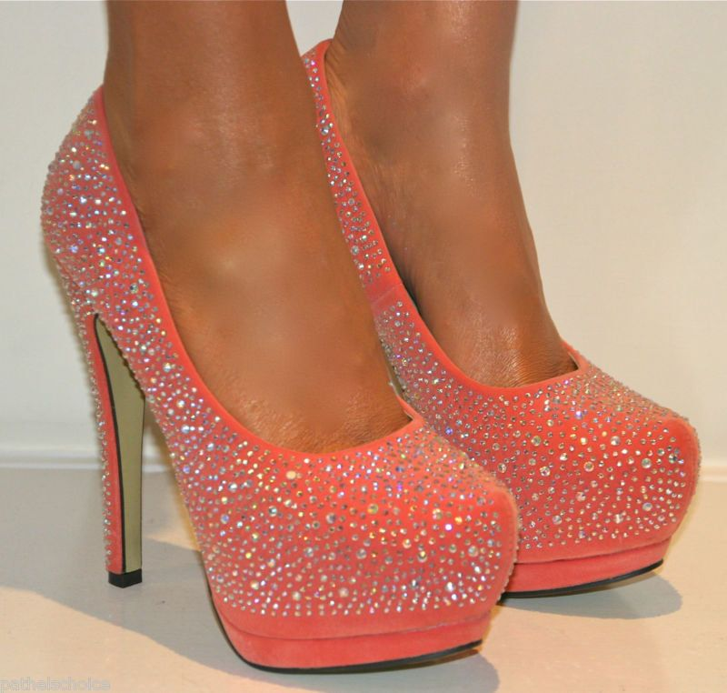 LADIES CORAL RHINESTONE PLATFORM SHOE STILETTO HEELS PROM EVENING SIZES 3-8  on Wanelo 209d45f7e