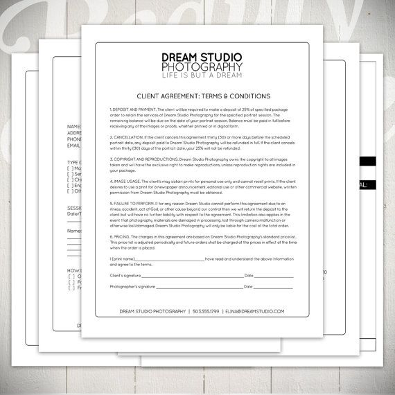 Photography Forms   Essential Contracts And Order Form Templates