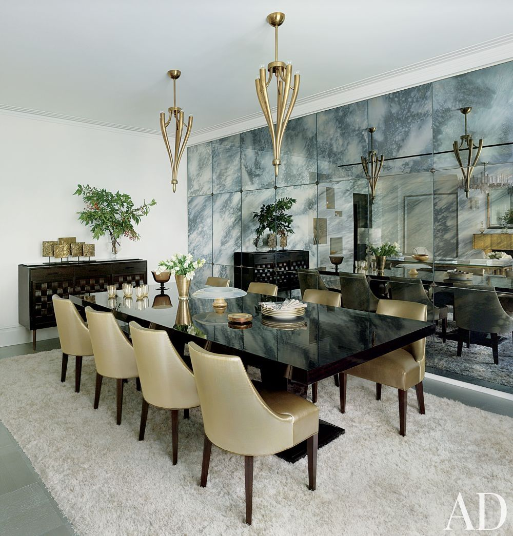 Dining Table For 8 People Complete With Elegant Two Tone Chairs A Room Set By David Mann MR Architecture Decor In New York