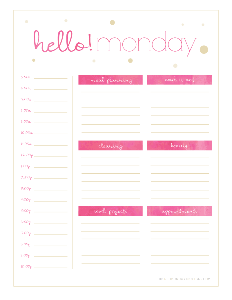 Free hello monday sunday weekly planner printables for Free online table planner