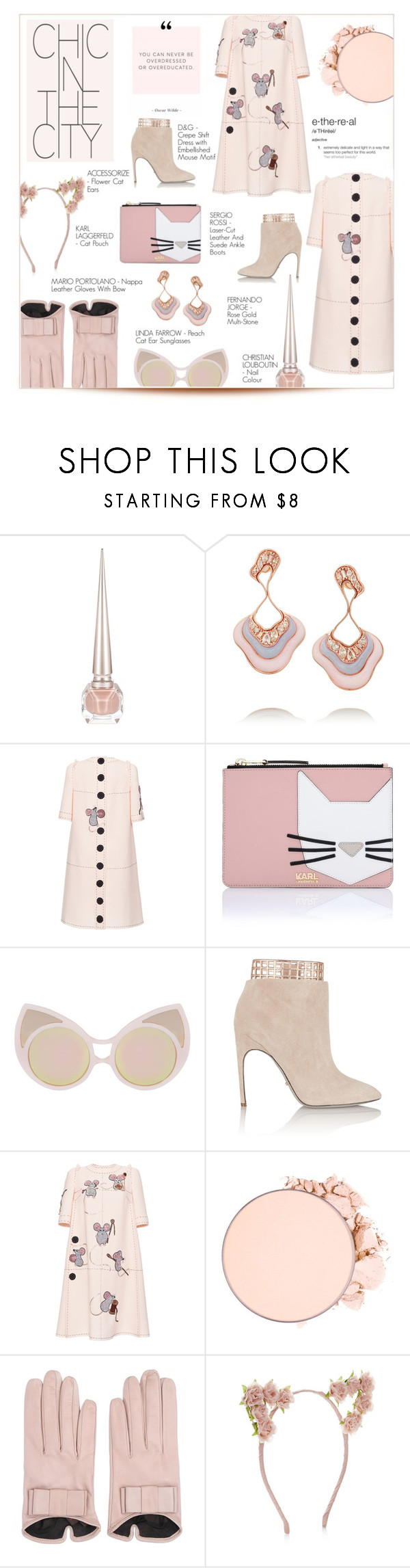 """""""ETHEREAL"""" by larissa-takahassi ❤ liked on Polyvore featuring Christian Louboutin, Fernando Jorge, Dolce&Gabbana, Karl Lagerfeld, Linda Farrow, Sergio Rossi, Mario Portolano, Accessorize, chic and city"""
