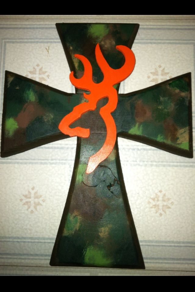 Camo & Browning wooden cross. This is so for Kerra!!!