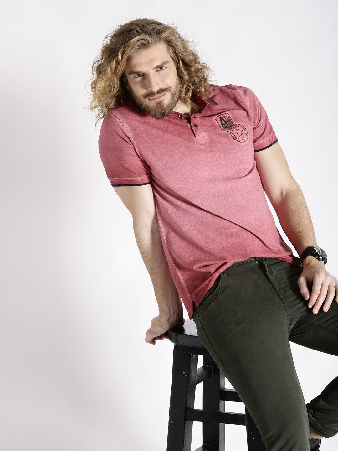 S Oliver Coral Pink Washed Slim Polo Collar T Shirt Collar Tshirt S Oliver Shirt Online