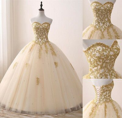 New Gold Appliques Quinceanera Dress Formal Sweet 16 Prom Party Pageant Gowns -   19 dress Quinceanera gold ideas
