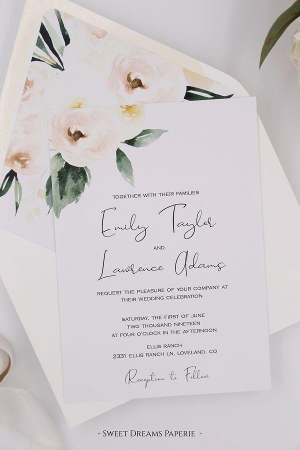 Printable Wedding Invitation Set, Blush Floral Wedding Invitation Template, DIY Instant Download Wedding Invitation - Emily Suite