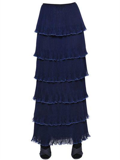 MARY KATRANTZOU Pantheon Tiered Plisse Georgette Skirt, Navy. #marykatrantzou #cloth #skirts