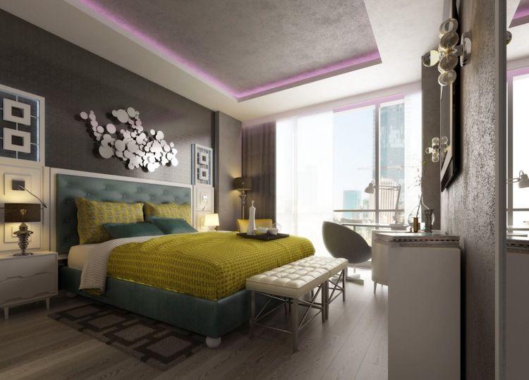 chambre de luxe, peinture grise, lit design, déco murale et ...