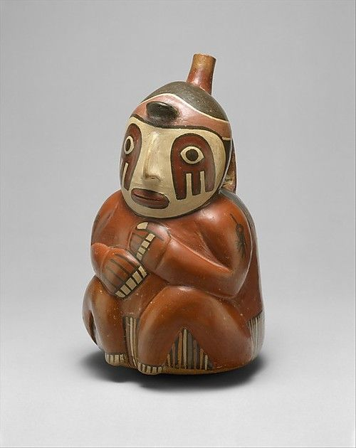 Ceramics bottle in shape of seated person From Peru, the Nasca Period, 1st or 2nd century AD. Source: Metropolitan Museum