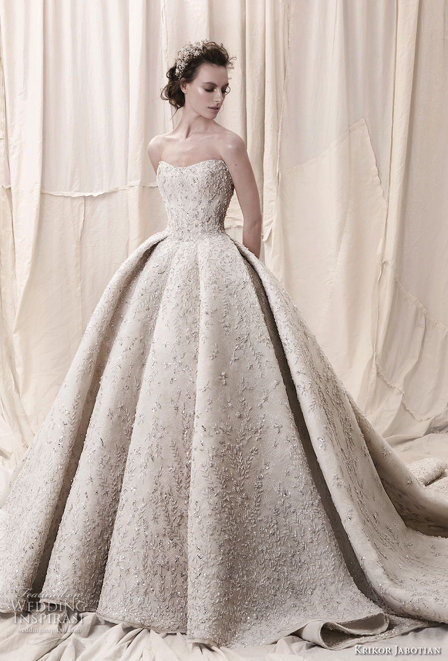 6339fea625939 krikor jabotian spring 2018 bridal straplss semi sweetheart neckline full  embellishment glamorous princess ball gown a line wedding dress open back  royal ...