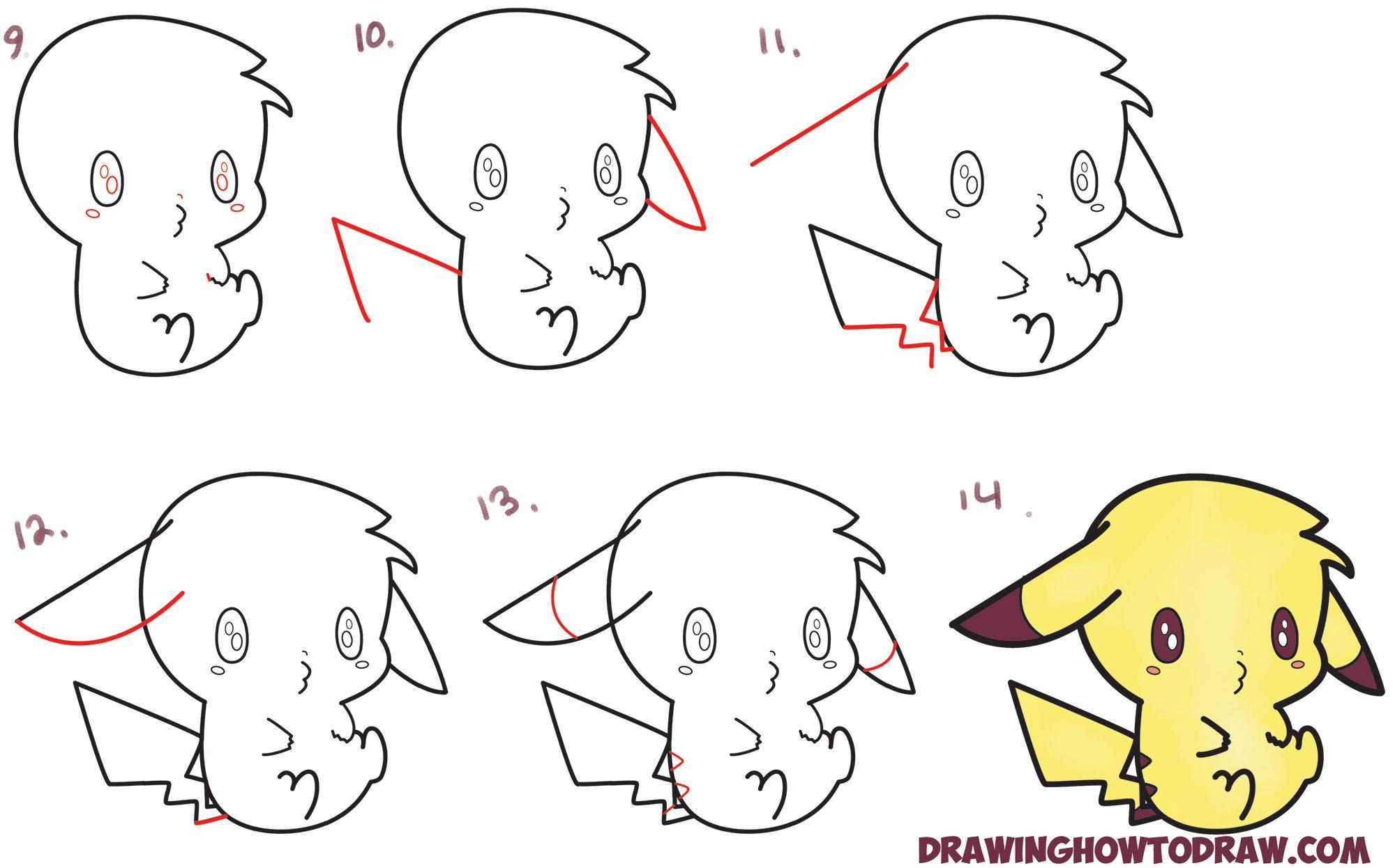 Learn how to draw an adorable pikachu kawaii chibi