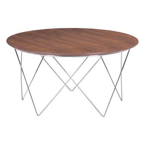 Zuo Modern Macho Coffee Table Walnut Chromed Steel