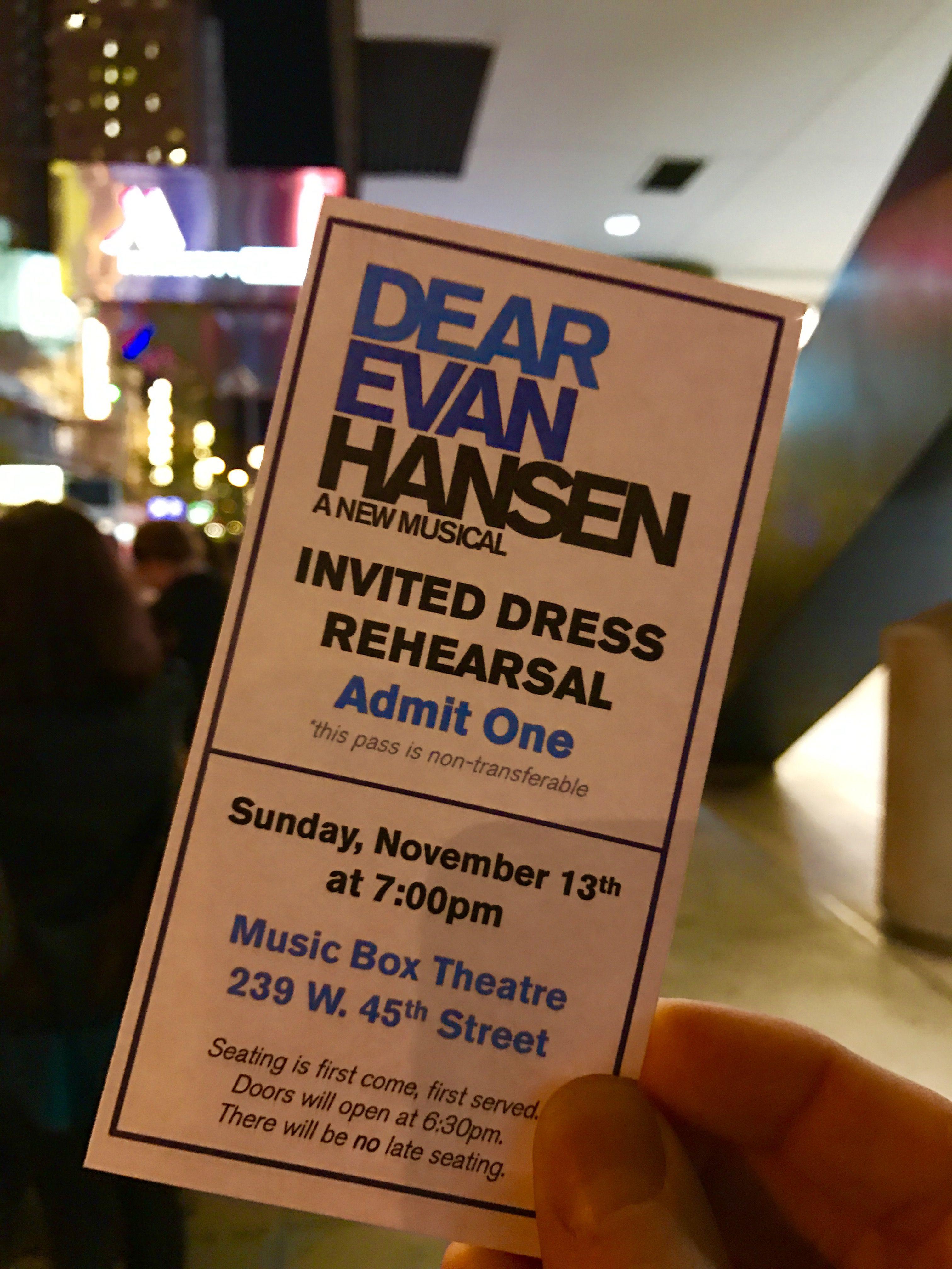 DEAR EVAN HANSEN final dress on Broadway at the Music Box