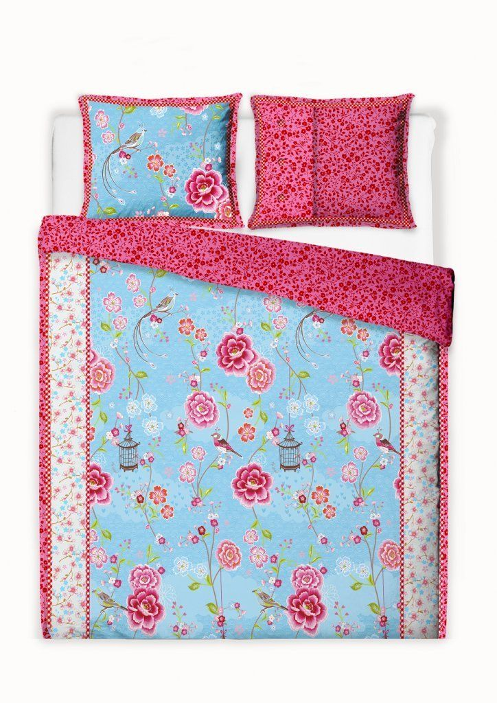 Pip Studio Bettwäsche Birds In Paradise Blau 155x220 Cm 80x80 Cm