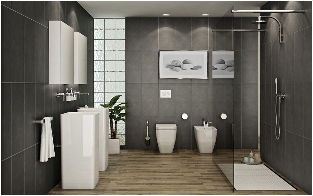 grey tiles oak floor bathroom - Google Search