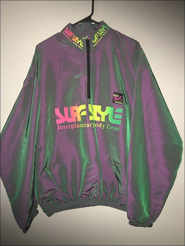 90s Surf Style Gothic Graphic Neon Purple Iridescent Half Zip Pullover Track Jacket Windbreaker