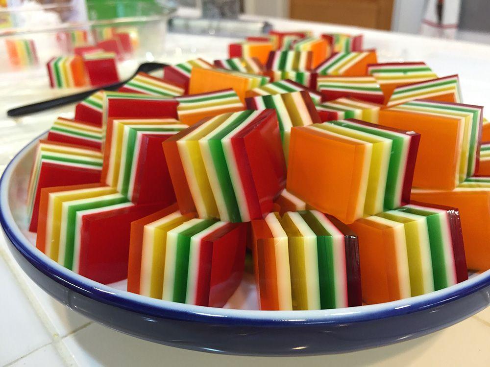 Seven Layer Jello The Recipe Grandma S Most Famous For Get The Recipe At Marmaladejar Com Layered Jello Jello Recipes Jello Desserts