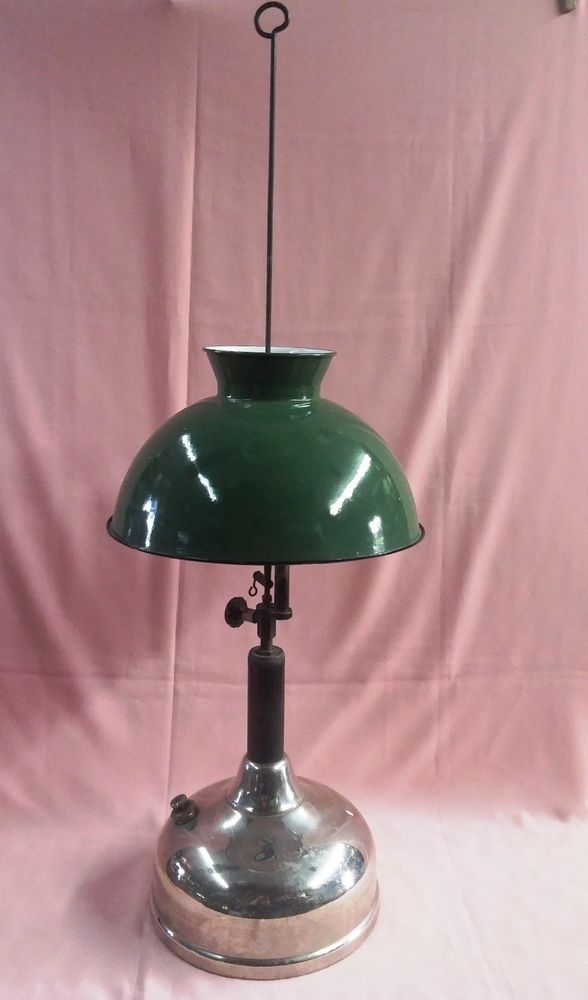 1927 Antique Coleman Quick Lite Lantern Hanging Or Table W Green Porcelain Shade Ebay Cool Lighting Vintage Lanterns Gas Lamp