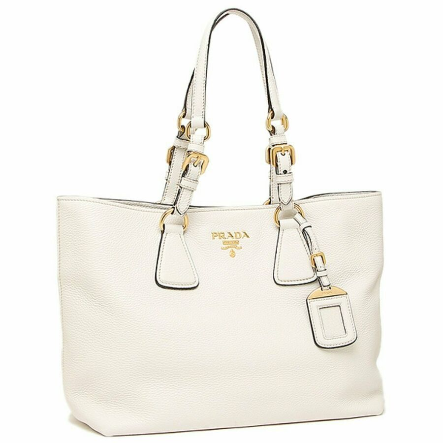 Prada Women's Vitello Phenix White Leather Shopping Tote