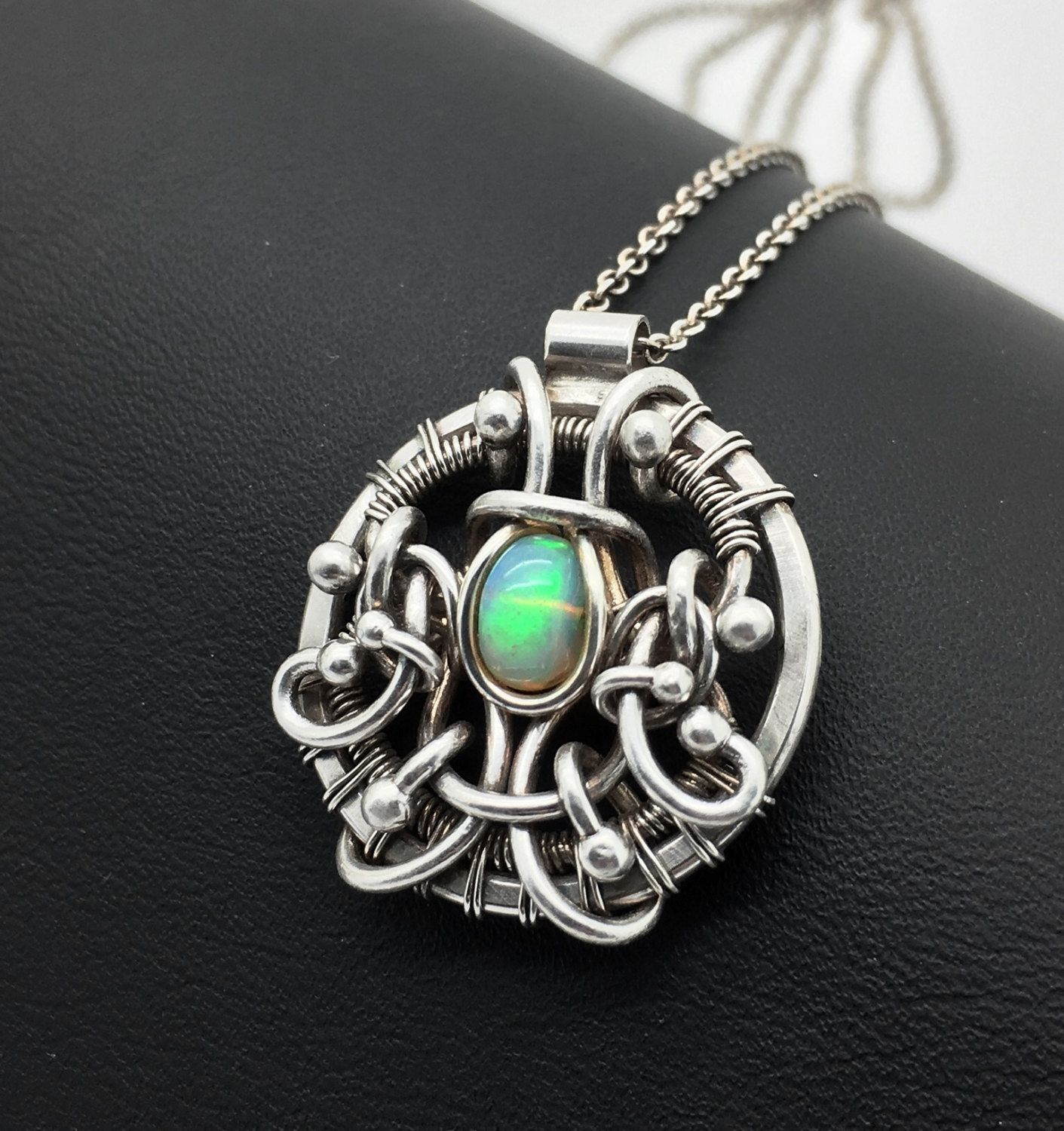 Opal pendant ethiopian opal opal jewelry wire wrapped pendant opal pendant ethiopian opal opal jewelry wire wrapped pendant silver opal pendant mozeypictures Choice Image