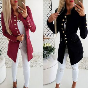 Sweet Stand Collar Solid Long Sleeve Coats