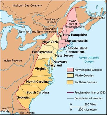 The American Colonies Labeled By Region Cycle Week - Map of the us colonies