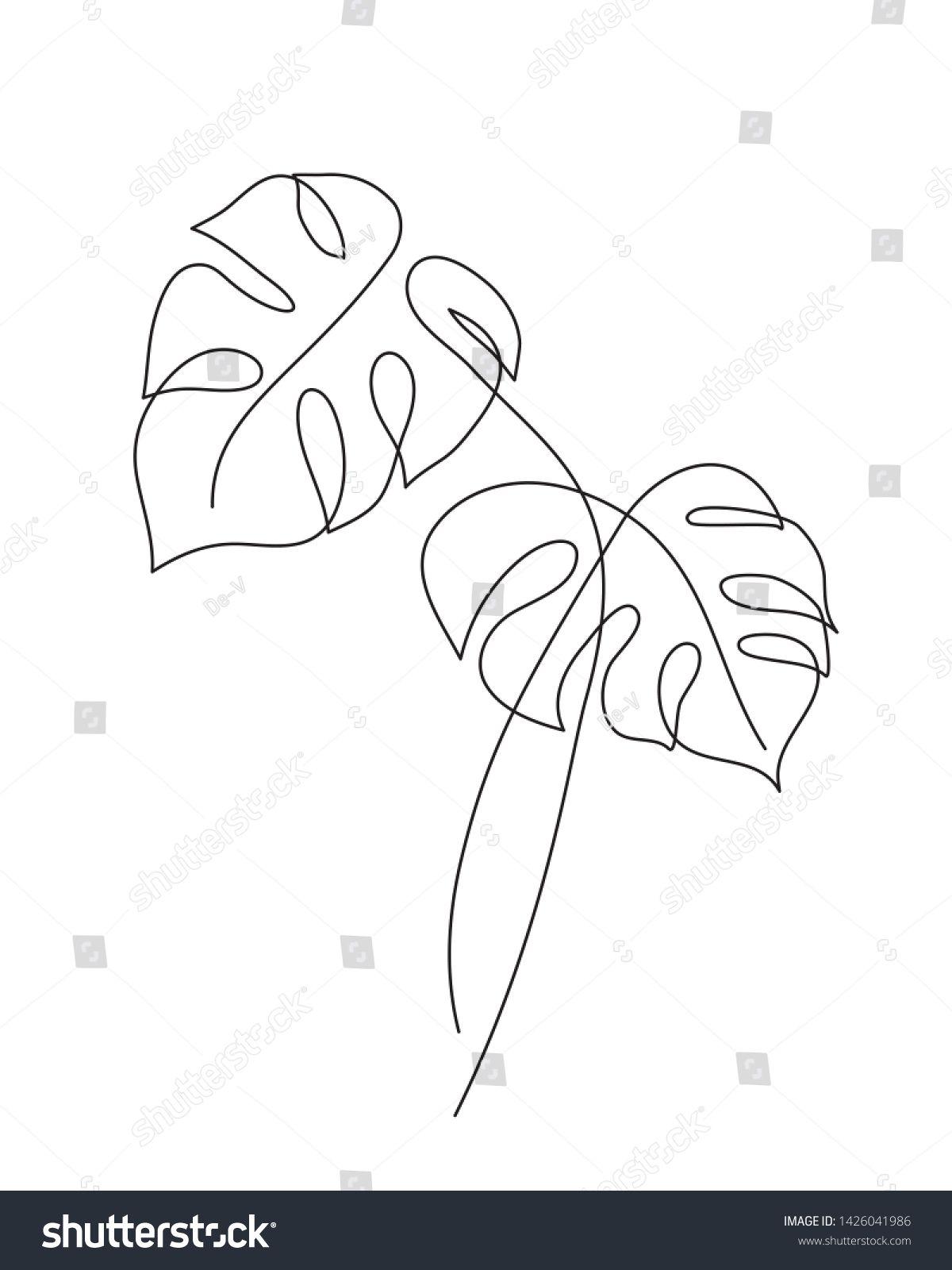 Vetor stock de Monstera Leaf Line Art Continuous Line (livre de direitos) 1426041986