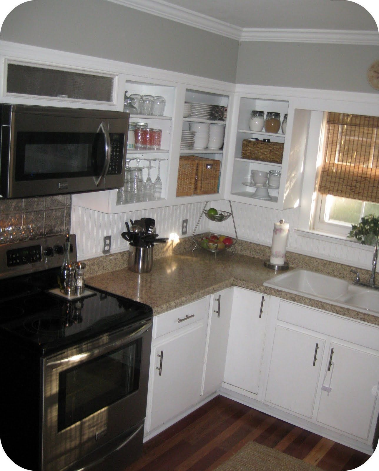 Low Budget Kitchen Cabinets: Faux Metal Tiles And Beadboard