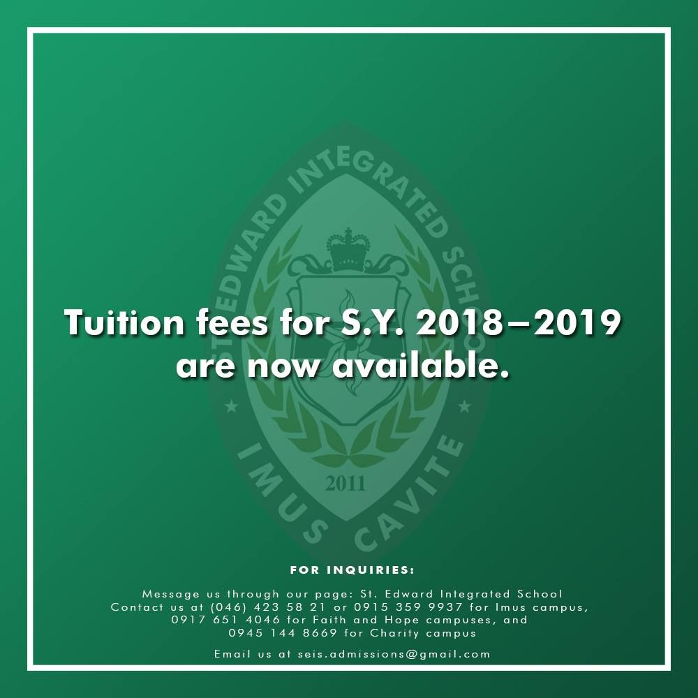 St Edward Integrated School Tuition Fees For S Y 2018 2019 School Tuition Tuition Fees Tuition